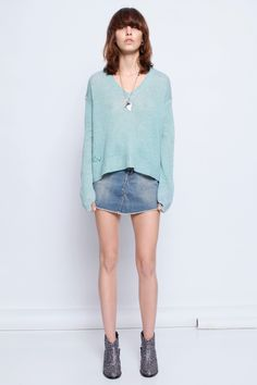Zadig et Voltaire sweater, V neck with long sleeves, 100% cashmere