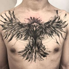 52 Best Tattoos Inspired by Classical Art and More for Handsome Mens tattoos inspired by art; tattoos inspired by books; tattoos inspired by movies; tattoos inspired by depression; tattoos inspired by history; tattoos inspired by nature Bauch Tattoos, Tattoos Masculinas, Eagle Tattoos, Body Art Tattoos, Sleeve Tattoos, Cool Tattoos, Eagle Chest Tattoo, Chest Tattoo Phoenix, Mens Tattoos Chest