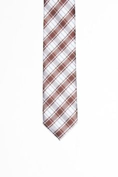 Skinny Tie Red and White Plaid