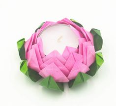 Water Resist Origami Lotus Tea candle holder by qiaojiang on Etsy