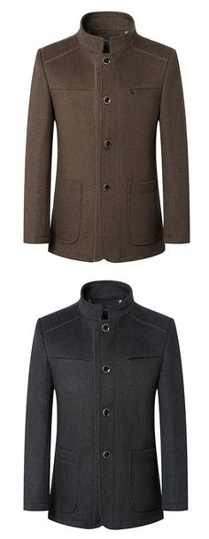 7880c9192c7 Stylish Business Winter Stand Collar Single Breasted Woolen Jacket Coats  for Men is fashion, see other designzer wool blend coat on NewChic.