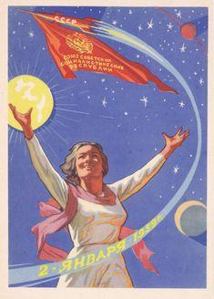 Communist Propaganda, Propaganda Art, Russian Constructivism, Retro, Ligne Claire, Socialist Realism, Soviet Art, Space Race, Space Program