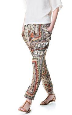 PRINTED HAREM PANTS from Zara