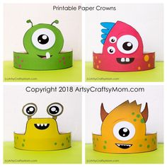 Monster Themed / Alien Themed Printable party Hats and crowns. 4 designs in full color + black and white blank versions too. You are in the right place about fabric Glue Here we offer you the most bea Alien Party, Headband Crafts, Hat Crafts, Monster Party, Monster Crafts, Monster University Crafts, Monster Decorations, Art For Kids, Costume Ideas