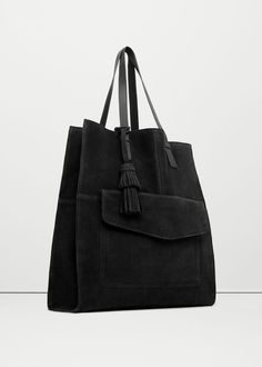 Leather shopper bag - Woman | MANGO USA