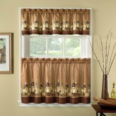 "36"" Long Wines Tailored Tier Curtain And Valance Set By Chf Industries by CHF Industries. $16.99. Set includes 1 pair of tiers 56"" wide x 36"" long and 1 tailored valance 58"" w x 12"" l. Decorate your kitchen with this charming printed wine bottle and cheeses curtain set. Set includes 1 tier and 1 valance. Tiers available in 2 sizes: 56"" wide x 24"" long 56"" wide x 36"" long Valance measures 58"" wide x 12"" long 70% polyester/30% cotton Machine Washable"