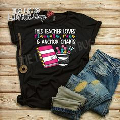 This Teacher Loves Planners, Pens, Anchor Charts t-shirt is everything you've dreamed of and more.  All of these teacher tees have been created by a classroom teacher and are great quality and unique! You will love wearing these tees to school! #teacherstyle #teachertee #teacherlife #iloveteaching #anchorcharts #flairpens #teacherhumor