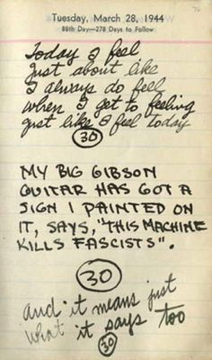 Woody Guthrie's Journaling