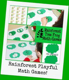 Rainforest Tree Frog Math Games for Preschool
