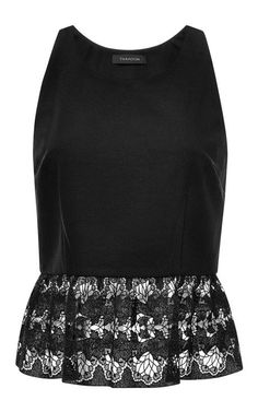 70558cf5f12041 Lace-Trimmed Crepe Top by Thakoon Now Available on Moda Operandi Lace Peplum