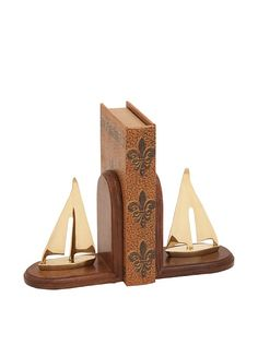 Pair of Wood and Solid Brass Sailboat Bookends Perfect for Home Boat Cottage Benzara Alphabet Themed Wooden Bookend  Set 2 BRU 40202
