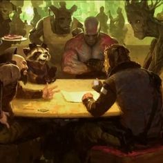 Guardians of the Galaxy Concept Art with Rocket Raccoon, Drax and Groot -- Landscapes and spaceships are revealed in this look at James Gunn's Marvel Phase Two sci-fi adventure. -- http://wtch.it/xyYb5