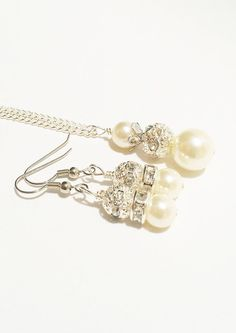 Pearl Necklace and Earring Set / Bridesmaid by VickysLittleSecrets, $14.50