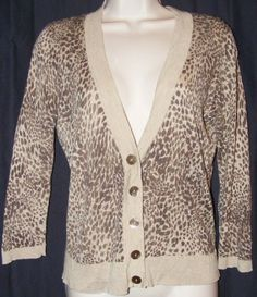 $29.99   Talbots Silk Cashmere Blend Animal Print Light Weight Cardigan Sweater S