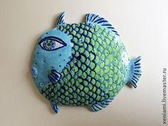 Панно керамическое `Синяя Рыба`.