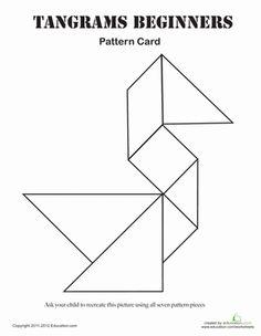 Kindergarten Math Worksheets: Easy Tangrams Puzzle #1