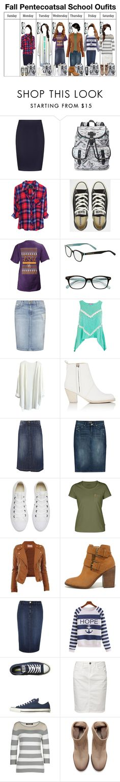 """Fall Pentecostal School Outfits"" by grace-food-lover ❤ liked on Polyvore featuring Reiss, Candie's, Converse, Pressbox, Kate Spade, Current/Elliott, Acne Studios, Oasis, Mother and Fjällräven"