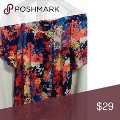 a.n.a. Gorgeous Dressy Casual Blouse Classy Multi-Colored Blouse by A New Approach. Open arms, free flowing comfortable fit. Works great as a business attire as well as sassy evening wear! Lightweight, not clingy, yet still slimming! a.n.a Tops Blouses