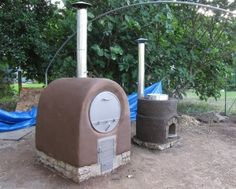 Barrel Oven and Canning Stove made from natural building products--talk about extending your living areas.  Wonderful way to keep the inside of your house cool while still cooking!
