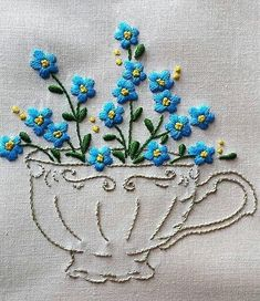 Hand Embroidery Patterns Flowers in a cup cross stitch pattern Brazilian Embroidery Stitches, Hand Embroidery Stitches, Silk Ribbon Embroidery, Hand Embroidery Designs, Diy Embroidery, Embroidery Techniques, Cross Stitch Embroidery, Cross Stitch Patterns, Embroidery Flowers Pattern