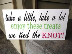 cute sign for the candy bar...words in navy?