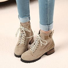 Korean tidal shoes of England with Martin boots nubuck leather rivet Rome with the short boots women boots motorcycle boots