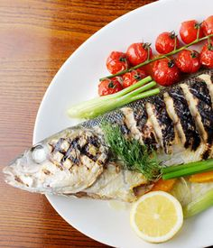 In this grilled sea bass recipe, Dominic Chapman stuffs the sea bass with fennel, dill and lemon to give the fish a citrusy depth of flavour. Grilling Recipes, Seafood Recipes, Cooking Recipes, Grilled Sea Bass Recipes, Healthy Cooking, Healthy Recipes, Pork Hock, Fennel Recipes, Pork Fillet