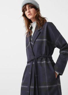 Kostkovaný vlněný kabát
