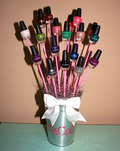 Great way to gift something as simple as nail polish! I made this for my boyfriends younger sister - she loved it!