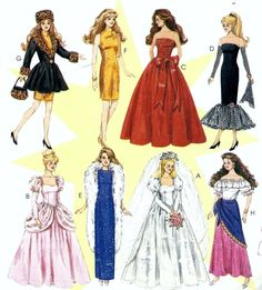 Doll Clothes Pattern Fashion Doll Wedding Dress Bridal Gown Evening Gown Formal Barbie Doll Dress Suitable for Doll UNCUT McCalls 8552 Sewing Doll Clothes, Doll Clothes Barbie, Barbie Dress, Doll Clothes Patterns, Clothing Patterns, Dress Patterns, Barbie Doll, Doll Patterns, Vintage Patterns