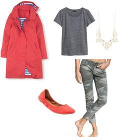 Spring Outfit Idea #1: Bright Jacket + Gray Tee + Camo Jeans + Long Necklace + Bright Flats----- Drab camo gets a punch of color from the bright jacket and flats. Try pairing your camo jeans up with different brights. You can also dress them up with a bright blazer.