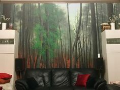 "# leaves# Fall ""Mourning woods"" Mural with wall paints on textured wall. The title of the piece is meant to convey the idea that the trees mourn their wilting brethren as their leaves wither and fall. Green Leaves, Autumn Leaves, Wall Mural, Mists, Woods, My Arts, Trees, Orange, Fall"