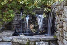 Water cascades over a carved stone face in The Ruin Garden.