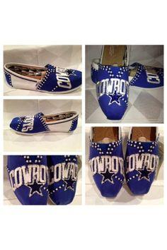 Toms Womans Classic Blue Canvas Shoe , Dallas Cowboys Custom Shoes