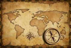 Vintage World Maps Compass Compass with o... old world