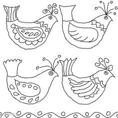 Folk Embroidery Folk Art Birds Coloring Pages – Color Bros Mexican Embroidery, Hungarian Embroidery, Folk Embroidery, Embroidery Patterns, Bird Template, Lilo E Stitch, Bird Coloring Pages, Coloring Sheets, Colouring