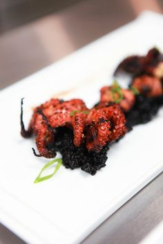 grilled octopus and cuddlefish ink rice