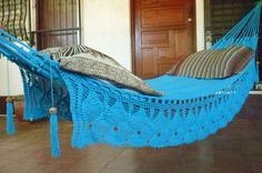 Turquoise Double Hammock handwoven Natural Cotton with by hamanica