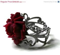Red Rose Ring - Victorian Mourning Jewelry.