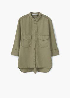Chest-pocket soft shirt | MANGO