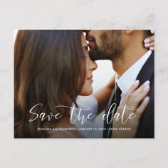 Shop Save the Date Wedding Photo Chic Script Stylish Announcement Postcard created by petit_nuvem. Personalize it with photos & text or purchase as is! Save The Date Pictures, Unique Save The Dates, Wedding Save The Dates, Save The Date Ideas, Save The Date Invitations, Save The Date Postcards, Save The Date Cards, Zazzle Invitations, Wedding Invitations