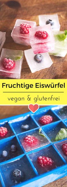 Fruity ice cubes - Fruchtige Eiswürfel The summer can come! Fruity ice cubes are the eye-catcher and provide a great aroma in your cold drink. Desserts Végétaliens, Birthday Desserts, Health Desserts, Dessert Recipes, Dessert Blog, Smoothie Recipes, Smoothies, Juice Recipes, Drink Recipes