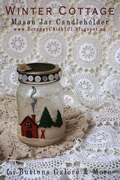 Scrappy Chick Designs: Holiday Mason Jar Candle Holder~