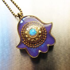 Lavender hamsa amulet israel jewelry by sassonorly on Etsy, $90.00