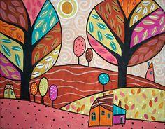 Sweet Sunshine by karlagerard Karla Gerard, Arte Popular, Naive Art, Pottery Painting, Whimsical Art, Tree Art, Art Lessons, Folk Art, Art Drawings
