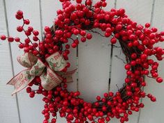 This item is unavailable Twig Wreath, Wreath Crafts, Christmas Bows, Christmas Decorations, Merry Christmas, Christmas Time, Red Berry Wreath, Make Your Own Wreath, Indoor Wreath