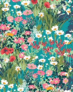 'Lavish' 'Mother's Garden Rich' large print floral cotton quilting fabric by Katerina Roccella for Art Gallery Fabrics Art And Illustration, Pattern Illustration, Illustrations, Deco Floral, Floral Prints, Art Prints, Art Floral, Guache, Art Gallery Fabrics