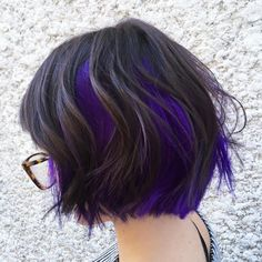 Wavy Chin-Length Black Bob with Funky Purple/Blue Coloring