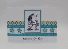 blog.karten-kunst.de - Penny Black-Igelkarte. Penny Black Clear Stamps, Karten-Kunst Kombi Set Wünsche