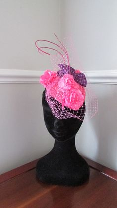 Items similar to Pink Fascinator - Hot Pink Sinamay base with purple bow and pink flowers on Etsy Ascot Ladies Day, Pink Fascinator, Kentucky Derby, Headpieces, Pink Flowers, Hot Pink, Bows, Shapes, Purple